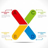 creative alphabet 'X' info-graphics design concept vector