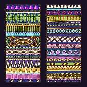 Abstract Ethnic Pattern Cards On Wood Background.