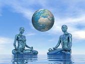 Blue meditation for earth - 3D render