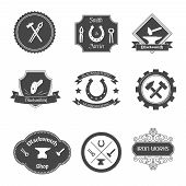 Blacksmith labels collection icons set