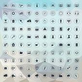 stock photo of universal sign  - Set of universal icons for web and mobile - JPG