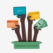 different payment option like credit card, net banking, cash, debit card hold in hand concept vector