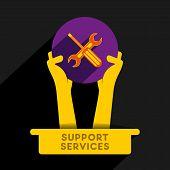 creative support and service provider icon design vector