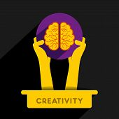 creativity icon or creative brain icon design concept vector