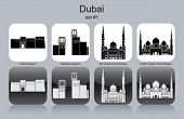 Landmarks of Dubai. Set of monochrome icons. Editable vector illustration.