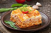 stock photo of lasagna  - Classic Lasagna with bolognese sauce on plate - JPG