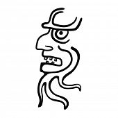 Face in style of Maya Indians, vector illustration on white background