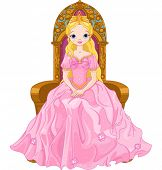 picture of throne  - Illustration of young queen sitting on the throne - JPG