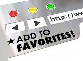 Add to Favorites words on a website browser screen bookmark a good Internet page