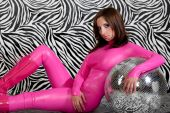 pic of latex woman  - Attractive girl in pink fetish suit ready to party - JPG