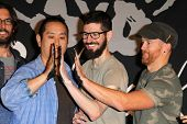 LOS ANGELES - JUN 18:  Joe Hahn, Brad Delson, Dave Farrell at the Linkin Park Rockwalk Inducting Cer