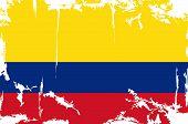 Colombian grunge flag. Vector illustration