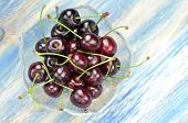 closeup of ripe, fresh and sweet cherries in a bowl
