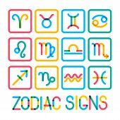 Zodiac Signs. Modern Color Icons.