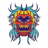 picture of rockabilly  - creative design of Red skull with bloe hair tatoo design - JPG