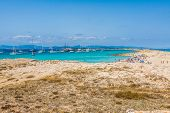 Tourists In Illetes Beach Formentera Island, Mediterranean Sea, Spain
