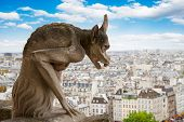 stock photo of gargoyles  - Gargoyle on Notre Dame Cathedral over Paris - JPG