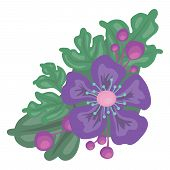 bright color illustration flower with leaves