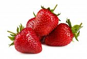 Red ripe strawberries, isolated on white
