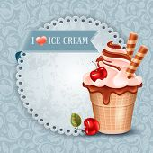 Tasty ice cream in waffle cup with chocolate and cherry on ornate background. Vector illustration.