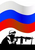 Soldier in uniform with gun on Russian flag