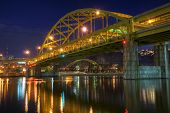 Fort Duquesne Bridge At Night