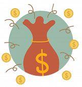 Saving money bag with money coin. Modern Flat design vector illustration concept.