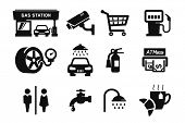 Gas station and Fuel pump icons set // 04