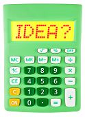 Calculator With Idea On Display Isolated