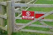 pic of no entry  - No entry sign attached to an outside wooden gate - JPG