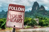 Follow Your Heart sign with a exotic landscape on background