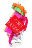 a pile of gifts in a shopping cart and a red signboard with the text cyber monday written in it, on a white background