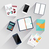 Calculator, smartphone, stationery and documents