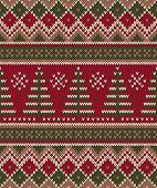 Christmas Sweater Design. Seamless Knitting Pattern. Winter Holiday Background