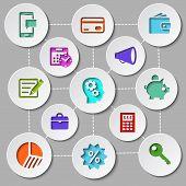 Management and finance flat design icon set