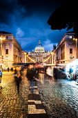Night shot of St. Peter's Basilica  in Rome