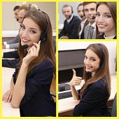 Call-center collage. People answering the phones