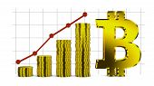 stock photo of bitcoin  - Bitcoin symbol and Infographics with stacks of coins - JPG