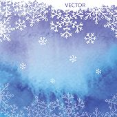 Watercolor texture with snowflakes background