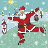 Santa  figure skating.Humorous illustrations.Winter sport