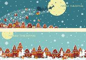 Christmas horizontal banner set.Santa Claus coming to City