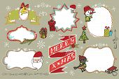 Christmas Doodles set.Badges,labels with holiday icons