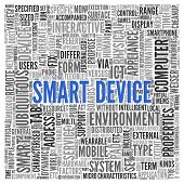 Close up Blue SMART DEVICE Text at the Center of Word Tag Cloud on White Background.