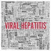 Close up Red VIRAL HEPATITIS Text at the Center of Word Tag Cloud on White Background.
