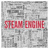Close up Red STEAM ENGINE Text at the Center of Word Tag Cloud on White Background.