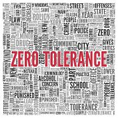 Red Zero Tolerance Texts and Related Words in Word Tag Cloud Design on White Background.