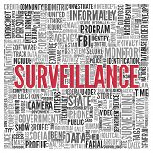 Close up Red SURVEILLANCE Text at the Center of Word Tag Cloud on White Background.