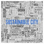 Close up Blue SUSTAINABLE CITY Text at the Center of Word Tag Cloud on White Background.