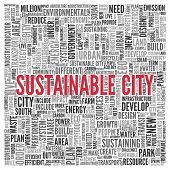 Close up Red SUSTAINABLE CITY Text at the Center of Word Tag Cloud on White Background.