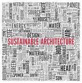 Close up Red SUSTAINABLE ARCHITECTURE Text at the Center of Word Tag Cloud on White Background.